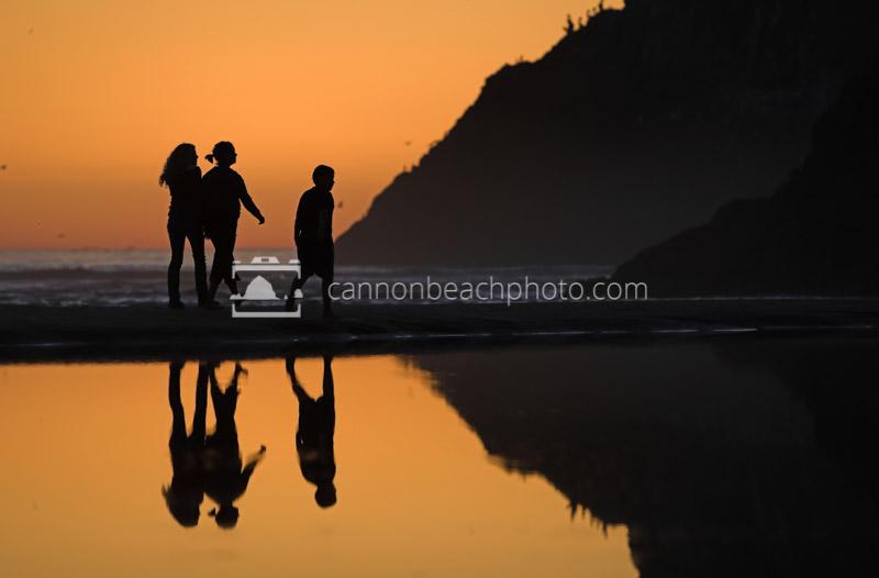 Family Silhouetted at Sunset 2