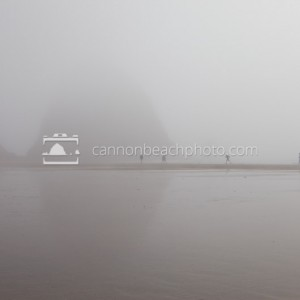 Fog People at Haystack Rock