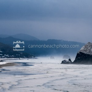 Snow on Cannon Beach