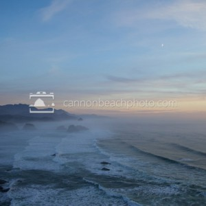 Crescent Moon Above Ecola Fog