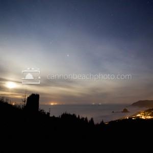 Moon, Sky and Stars Above Cannon Beach