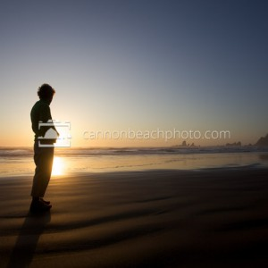 Silhouetted Woman on the Beach