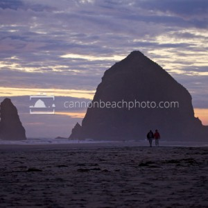 Two Walking After Dark, Haystack Rock