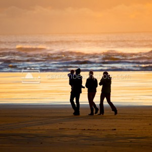 Family Walking the Oregon Coastline