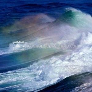 Giant Wave Break with Rainbow
