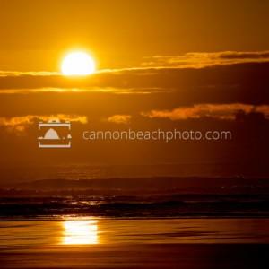 Orange Sunset Over the Pacific Ocean, Horizontal