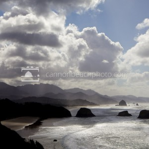 Cumulus Clouds above Cannon Beach from Ecola State Park