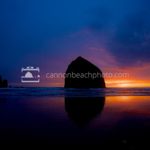 Sunset Afterglow, Haystack Rock, Cannon Beach, Oregon