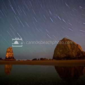 Star Trails Over Haystack Rock, Cannon Beach, Oregon