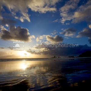 Sunny Cloudy Evening on the Oregon Coast