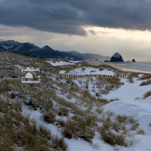 Snow in Cannon Beach, Oregon – Coastal Winter Scene