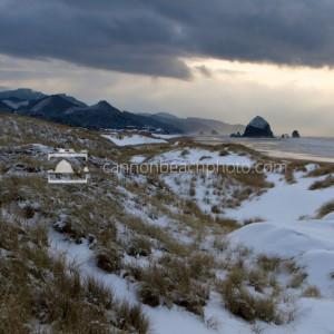Snow in Cannon Beach, Oregon - Coastal Winter Scene