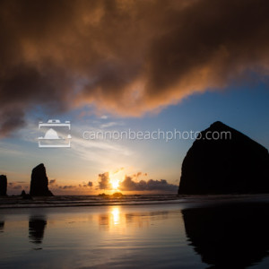 Haystack Rock Blue and Yellow Sunset