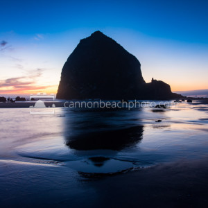 Blue Skies Evening with Haystack Rock