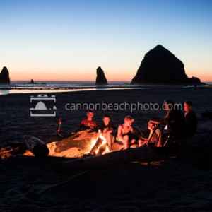 Family Bonfire at Haystack Rock, Oregon Coast