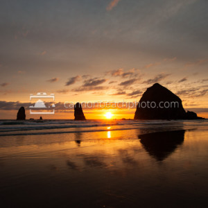 Haystack Rock Golden Summer Sunset, Oregon Coast Pictures