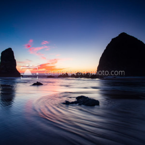 Haystack Rock Low Tide Sunset, Oregon Coast