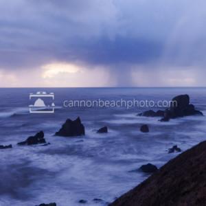 Sea Lion Rocks in Rain Storm