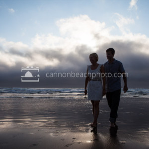 Silhouetted Beach Couple
