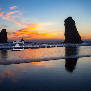 Two Needles at Sunset, Oregon Coast Low Tide