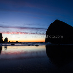Evening Glow Reflected at Haystack Rock