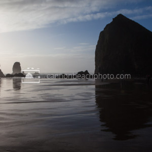 Haystack Rock and Needles with Cloudy Blue Skies