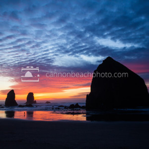 Haystack Rock with a Vibrant Oregon Coast Sunset