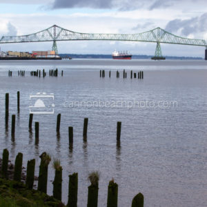 Astoria Bridge and Cargo Ship, Vertical