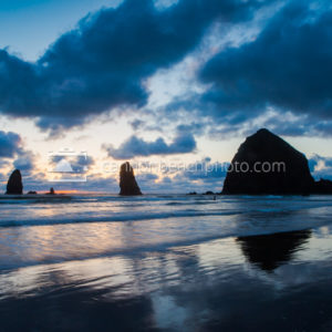 Cannon Beach Moody Sunset in Blue