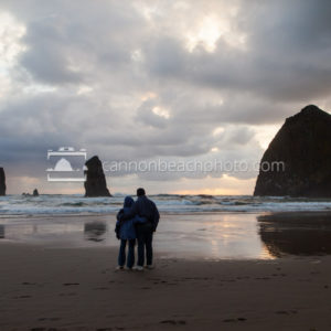 Elderly Couple Enjoying Sunset, Haystack Rock
