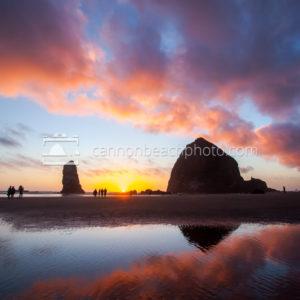 Epic Sunset Sky above Haystack Rock, Vertical
