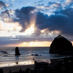 Sun Break and Clouds, Cannon Beach Beams