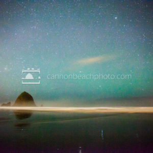 Haystack Rock and Starry Blue Sky