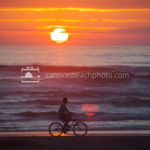 Biking the Shoreline at Sunset