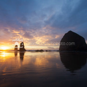 Sunset Colors Beginning to Ignite at Haystack Rock