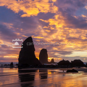 Sunset over the Needles in Cannon Beach, Vertical