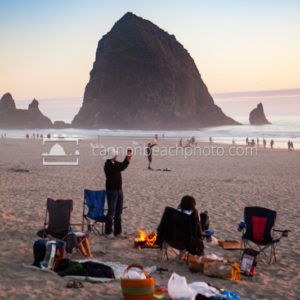 Beach Bonfire at Sunset, Haystack Rock, Vertical