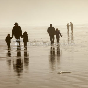 Family Groups Walking the Beach