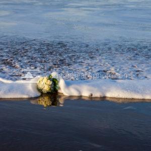 Wedding Bouquet in the Surf 2