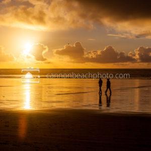 Beach Stroll with Golden Sunset 1