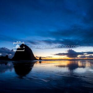 Haystack Rock Evening Reflections