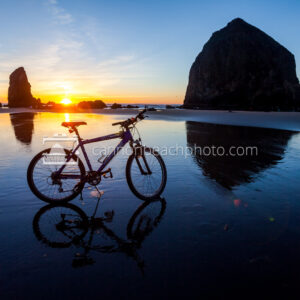 Beach Bike with Haystack Rock Sunset 2