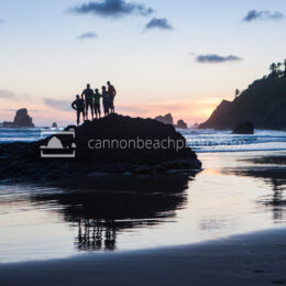 Family Watching Sunset, Ecola State Park