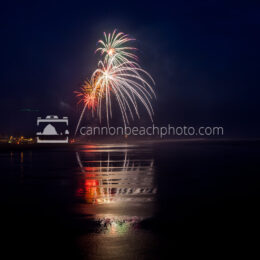 Oregon Coast Fireworks Show Reflecting