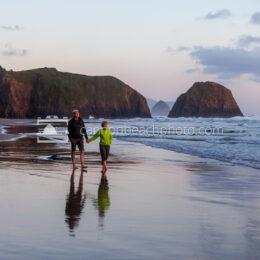Sunset Couple Walking on the Beach 2