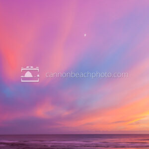 Crescent Moon thru Brilliant Sunset