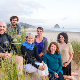 Cannon Beach Family Smiling in the Dunes 1