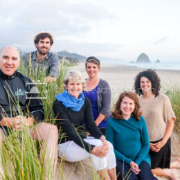 Cannon Beach Family Smiling in the Dunes 2