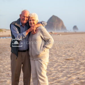 Elderly Couple Smiling on the Beach