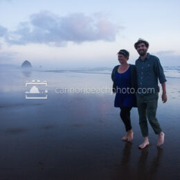 Romantic Couple Walking in Cannon Beach